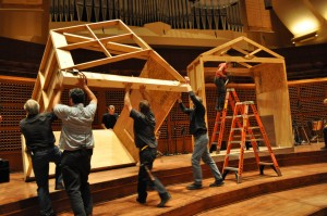 The Davies crew works on building the sets for John Cage's Songbooks