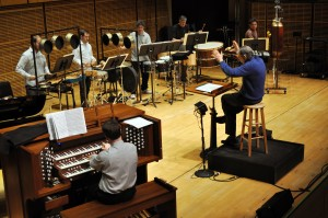 Rehearsing the Harrison Concerto for Organ and Percussion Orchestra