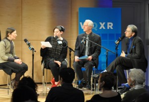 Michael Tilson Thomas (right) with (l to r): Meredith Monk, Q2 Music host Nadia Sirota, and WQXR's David Garland