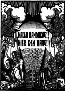 """Found on Mason's Facebook page: an etching from the 1928 book """"Hallo Bandoeng, hier Den Haag"""" (meaning """"Hello Bandung, here in The Hague"""") that chronicles the first radio transmissions from Radio Kootwijk in the Netherlands to the East Indies."""