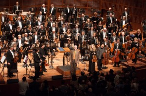 Composer John Adams acknowledges the crowd's appreciation following Absolute Jest world premiere