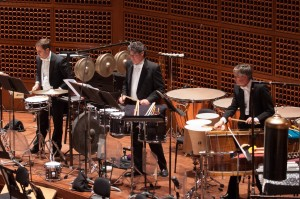 The SFS percussion performing in Lou Harrison's Concerto for Organ with Percussion Orchestra in the opening concert of the American Mavericks Festival. (l-r James Lee Wyatt, Artie Storch, Tom Hemphill) Credit: Kristen Loken